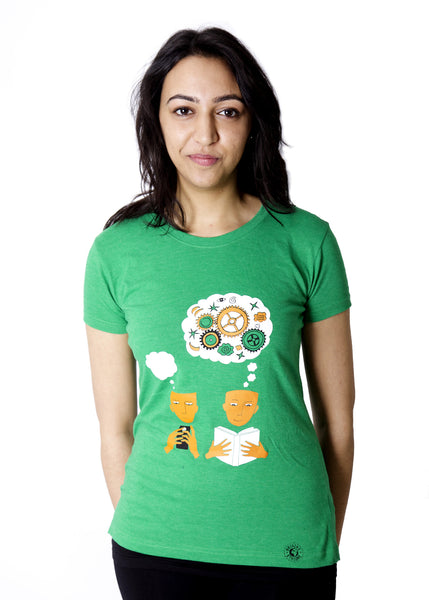 Eco-friendly t-shirt promoting literacy.