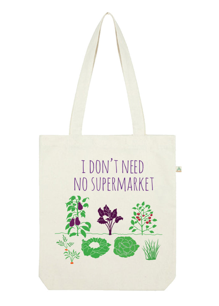 Fair-trade tote bag promoting sustainable farming. Gift idea for vegan and vegetarian people.