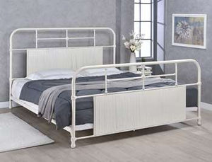 Cheriton Metal Bed - King, Antique White