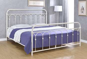 Hallwood Metal Bed - King, Antique White