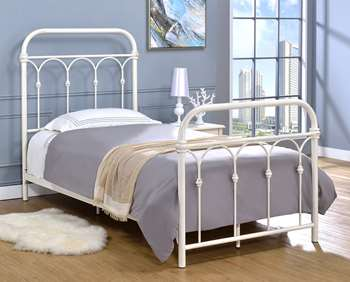 Hallwood Metal Bed - Twin, Antique White