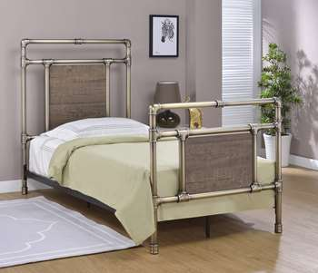 Elkton Metal Bed - Twin, Antique Brass