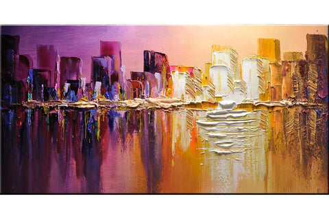 Sunset over the city Cityscape Painting - Loko deko