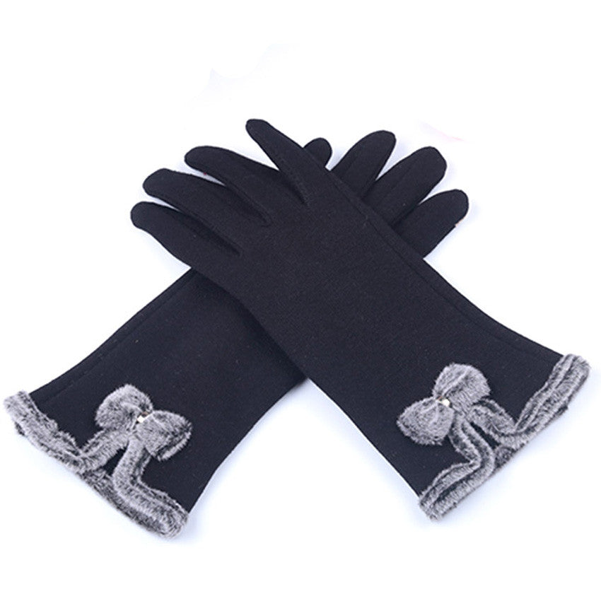Apparel Accessories Intellective Cute Women Bow Cashmere Gloves 2018 Autumn Winter Warm Full Finger Mittens Glove Elegant Female Ski Driving Gloves Guantes Mujer
