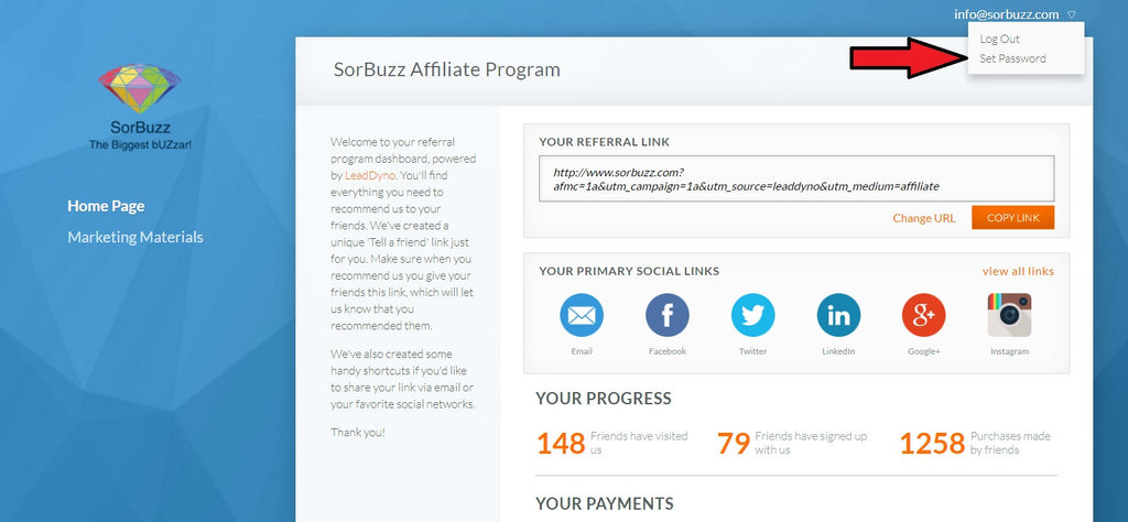 setting affiliate program account with best commissions