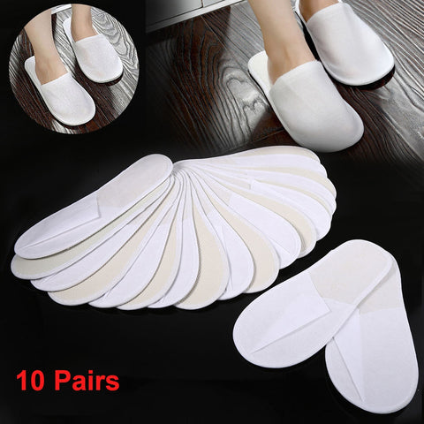 10 Pairs Hotel Travel Slippers Sanitary Party  Home Guest Use Shoes Fluffy Closed Toe Men Women Disposable Slippers Solid Color