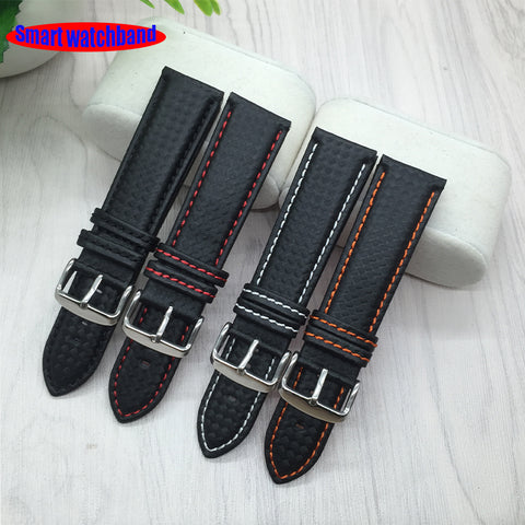 18mm 20mm 22mm 24mm Black Red Stitching Carbon Fiber Leather Watch Band strap sport
