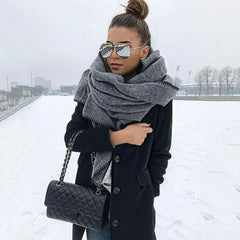 200Cm Autumn Winter Women Solid Color Fleece Scarf Warm Shawl Outdoor Neck Wrap Ladies Warm Shawl Hot Sale