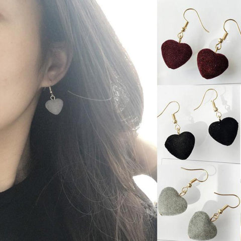 2017 New Retro Velvet Sweet Girl Geometric Love Hair Ball Earrings Jewelry Wholesale Oorbellen Voor Vrouwen Wedding Earrings