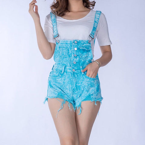 2017 Summer Cheap Cloth Women Denim Playsuits Cotton Strap Rompers Shorts Loose Casual Overalls Shorts Ladies Fashion Playsuits