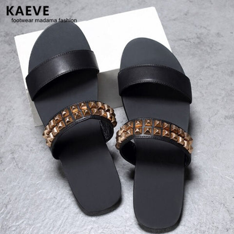 2017 Summer Flat With Rubber Slippers Black Men Sandals Leather Gold Riverts Slides New Natives Mens Studded Flip Flops 45