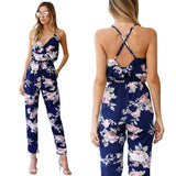 2018 BKLD Rompers Womens Jumpsuit Summer Ladies Blue Sexy Deep V Neck lace Up Sleeveless Floral Back Cross Casual Jumpsuit Femme