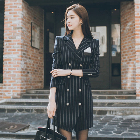 2018 Fashion High Quality Office Lady Slim Striped Blazer Split Sexy Notched Women Dress Elegant Work Suits Feminino