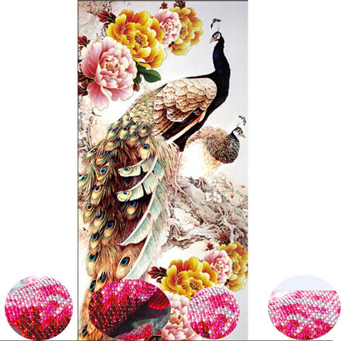 2018 New Diy 5D Diamond Embroidery Diamond Mosaic Two Peacocks Round Diamond Painting Cross Stitch Kits Home Decoration For Gift