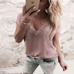2019 Women Blouse Tops Summer Top Casual Loose Short Sleeve Solid Lace V-Neck Chiffon Blouses Female Shirts Vest Blusa Plus Size