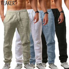 2020 New Men'S Cotton Linen Pants Male Summer Breathable Solid Color Linen Trousers Fitness Streetwear M-3Xl