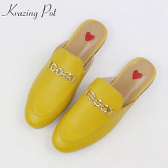 2020 Genuine Leather Brand Summer Shoes Slip On Large Size Embroidery Flat With Slingback Outside Slippers Metal Chains Mules