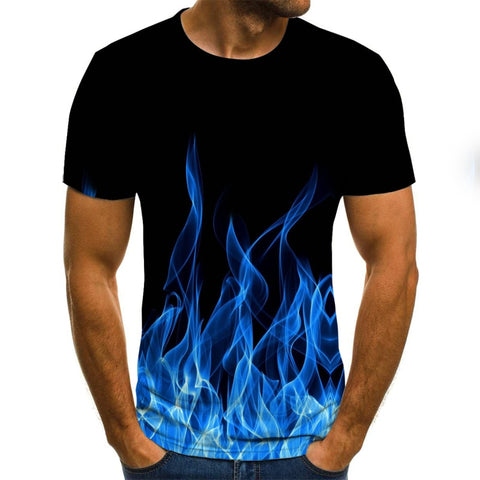 2020 New Flame Men'S T-Shirt Summer Fashion Short-Sleeved 3D Round Neck Tops Smoke Element Shirt Trendy Men'S T-Shirt