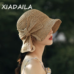 2020Parent-Child 100%Raffia Bow Sun Hat Wide Brim Floppy Summer Hats For Women Beach Panama Straw Dome Bucket Hat Shade Hat
