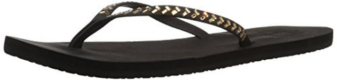Reef Women's Bliss Embellish Flip Flop, Black/Bronze, 6 M US
