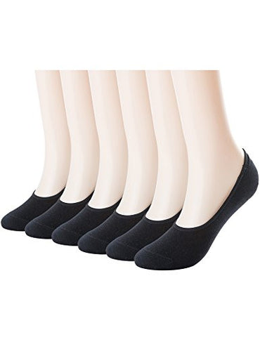 Mens Thin No Show Socks 6 Pack Casual Low Cut Loafers Non Slip Boat Liners Black