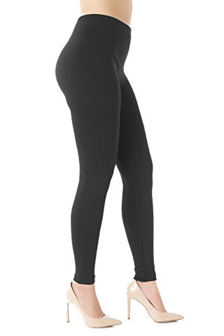 Premium Warm Fleece Lined Leggings High Waist - Regular and Plus Size - 10 Colors by Conceited (S/M (0-10), Black)