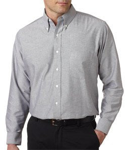 UltraClub� Men's Classic Wrinkle-Free Long-Sleeve Oxford (Charcoal) (3X-Large)