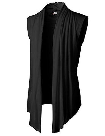 H2H Men's Shawl Collar Sleeveless Cardigan With No Button BLACK US L/Asia XL (KMOCASL01)