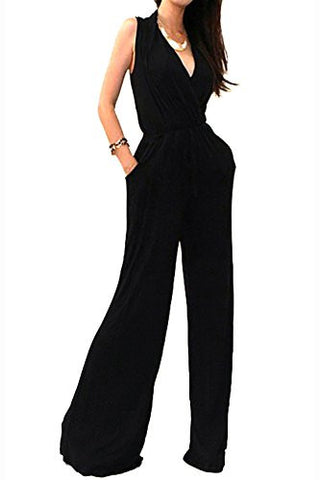 VIVICASTLE Women's Sexy Wrap Top Wide Leg Long Sleeve Cocktail Knit Jumpsuit (Medium, Black-sleeveless)