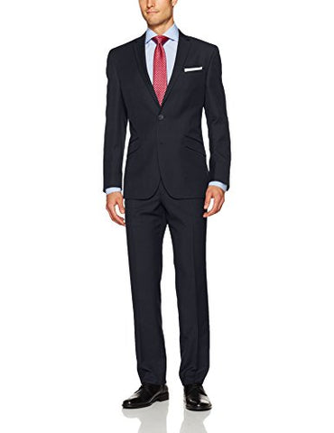 Kenneth Cole Unlisted Men's 2 Button Slim Fit Suit with Hemmed Pant, Navy, 40 Regular