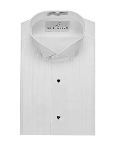 "Neil Allyn Men's SLIM FIT Wing Collar 1/4"" Pleats Tuxedo Shirt-M-34-35"