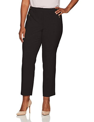Calvin Klein Women's Plus Size Straight Pant with Buckle and Zip, Black, 18W