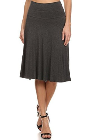 12 Ami Solid Basic Fold-Over Stretch Midi Short Skirt Charcoal Medium