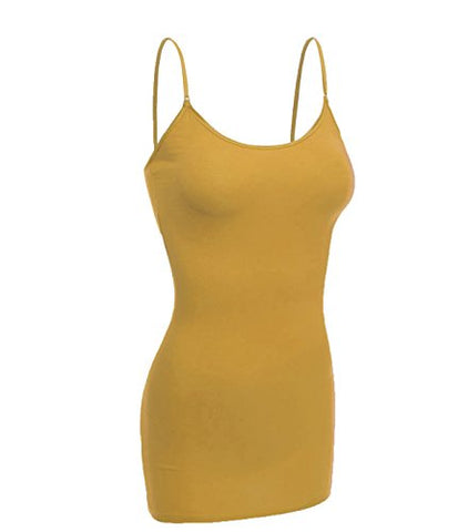 Emmalise Women's Basic Casual Long Camisole Cami Top Regular and Plus Sizes, Mustard, Medium