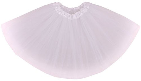 Simplicity Women's Classic Elastic, 3-Layered Tulle Tutu Skirt, White, One Size