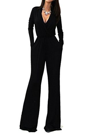 VIVICASTLE Sexy Wrap Top Wide Leg Long Sleeve Cocktail Knit Jumpsuit (Large, Black)