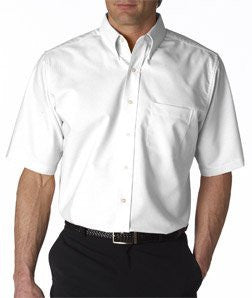 UltraClub mens Classic Wrinkle-Free Short-Sleeve Oxford(8972)-WHITE-XL