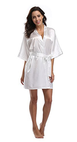Luvrobes Women's Satin Kimono Robe, Solid Color, Short (XL, White)