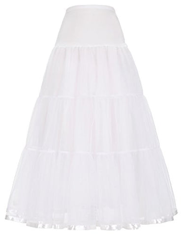 Womens Long Tulle Petticoat Skirt A line Princess Skirts (L,White)