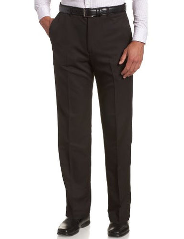 Haggar Men's Cool 18 Hidden Expandable Waist Plain Front Pant,Black,38x30