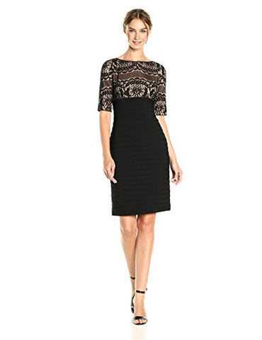 Adrianna Papell Women's Lace Sheath Dress, Black, 10
