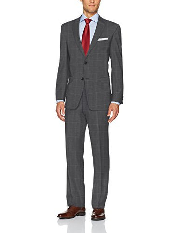 Tommy Hilfiger Men's Wool Stretch Fancy Performance Suit, Grey Windowpane, 36R