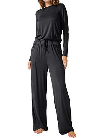 LAINAB Womens Casual Long Sleeves O Neck Wide Legs Playsuits Jumpsuits Black L