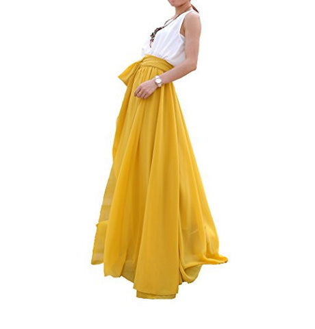 Melansay Beatiful Bow Tie Summer Beach Chiffon High Waist Maxi Skirt XXL,Mustard Yellow