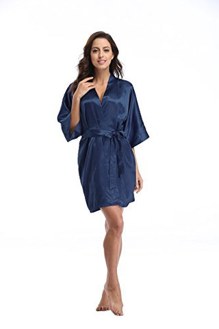 Luvrobes Women's Satin Kimono Robe, Solid Color, Short (S, Navy)