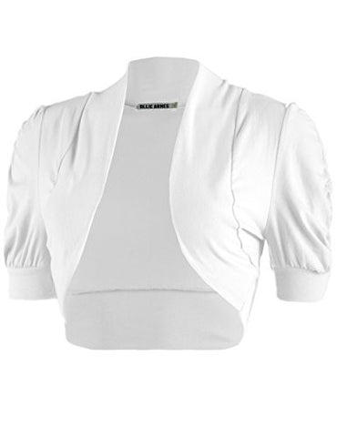 Ollie Arnes Women Basic Short Sleeve Versatile Bolero Shrug Cardign Junior Plus 41 WHITE M