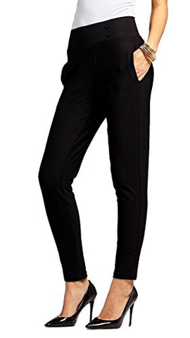 Women's Dress Pants - Slim and Bootcut - 7 Colors - by Conceited (Medium, Slim Buttons Black)