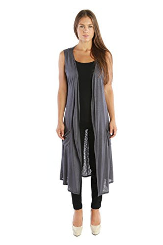 Nelly Aura Open Duster Sleeveless Long Cardigan Vest w/ Pockets - Charcoal - 1X