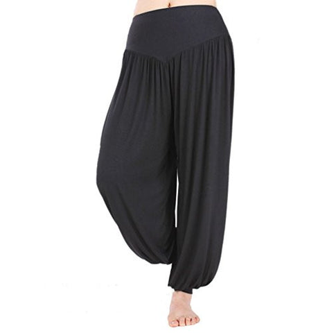 HOEREV Super Soft Modal Spandex Harem Yoga/ Pilates Pants, Black,Large