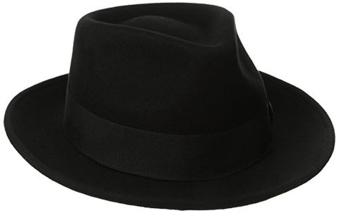Scala Classico Men's Crushable Water Repelant Wool Felt Fedora Hat, Black, Medium